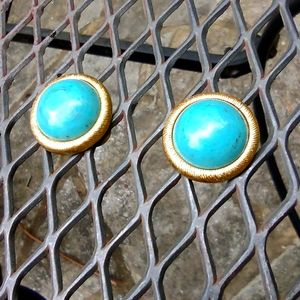 Monet turquoise and gold colored VTG clip earrings
